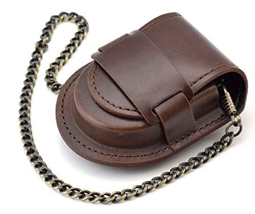 (よんピース)4piece 懐中 時計 ケース 皮 レザー 保護 ブラック 黒 チェーン 付 KH0000 (ブラウン)