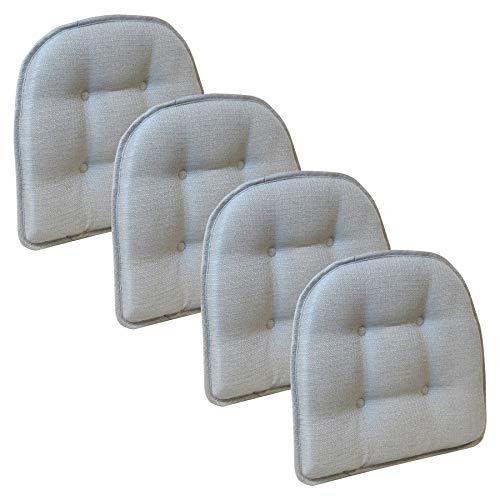 Klear Vu Gripper Tufted Furniture Safe Non-Slip Dining Chair Cushion, Gray, 4 Pack