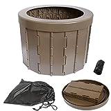 iBeamed 携帯トイレ アウトドア 緊急用 コンパクト 清潔 水洗い可能 (茶, 34)