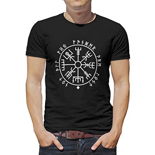 Camiseta duradera para hombre, estilo nórdico, vikingo, Vegvisir, runas escandinavas, tótem, islandés,...