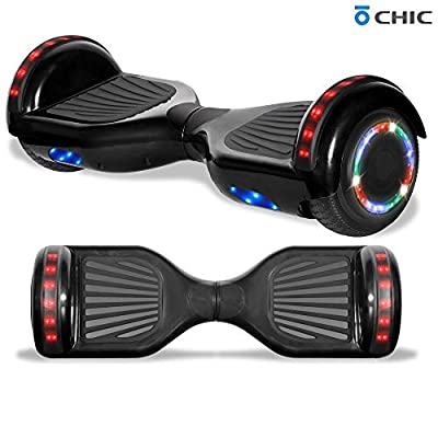 """Longtime 6.5"""" Chrome Metallic Hoverboard Self Balancing Scooter with Speaker LED Lights Flashing Wheels (Shadow Black)"""