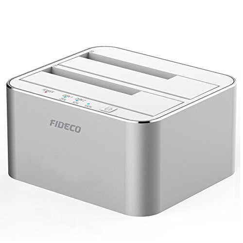 FIDECO Station d'accueil, USB 3.0 Station D''Accueil du Disque Dur Aluminium avec 2 Slots pour SATA HDD/SSD 2,5/3,5 Pouces jusqu'à 2X 10TB, Clonage Hors Ligne (Argent)