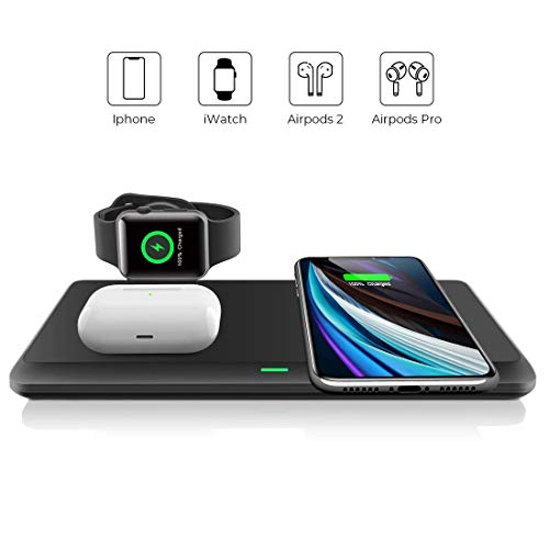 LECHLY Kabelloses Ladegerät, Qi-Zertifiziert, Wireless Charger 3 in 1 für Apple Watch, AirPods Pro ladestation, 7.5W für iPhone 11/11pro/Se/XS/XR/Xs Max/8, ladestation Samsung Galaxy S20/S10