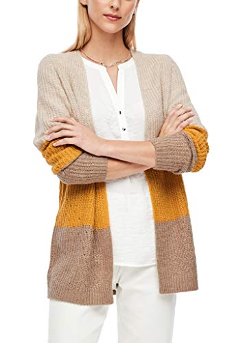 s.Oliver Damen Strickjacke mit Colour Blocking beige/Yellow Stripes 36