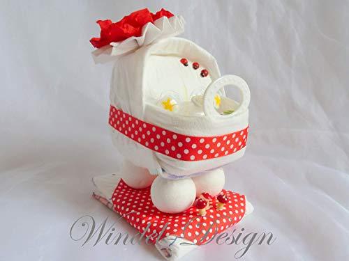 Windeltorte Glückskäfer rot pünktchen Windelwagen, Geschenk, Babyparty, Geburt oder Taufe, auf Wunsch mit Grußkärtchen