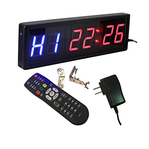 Digital Grande LED Temporizador 2,3 pulgadas Gimnasio temporizador de intervalo 12/24-Hr reloj de tiempo real cronómetro temporizador de Deportes (Color : Black, Size : 2.3'')