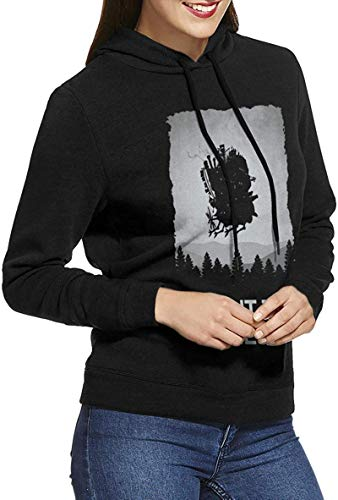 Anime Howl¡¯s Moving Castle Want to Believe Women's Long Sleeved Pullover Sweatshirts Hoodies,Black,Large
