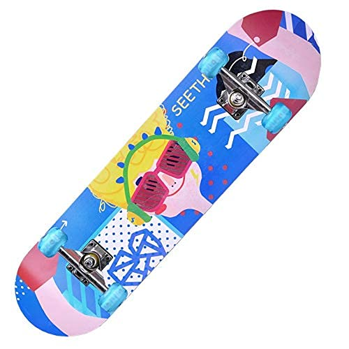 ZHBH Complete Pro 79 cm standard lönn skateboard, LED-lätta hjul för pojkar flickor nybörjarborste gatudans bräda semester kryssare lastlager 150 kg (blixthjul)
