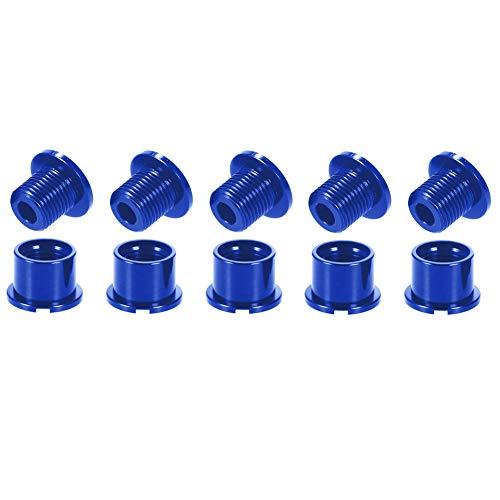 Zivisk - Set di 5 bulloni per corona singoli, 5 pezzi, M8, viti per anelli e dadi MTB, per bici da strada, mountain bike, BMX, MTB, colore: blu