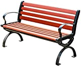 wsbdking Banco de jardín del patio al aire libre con respaldo, banco de parque de madera para 2 personas, banco de salón de patio, banco de césped, silla de descanso con reposabrazos y marco de hierro