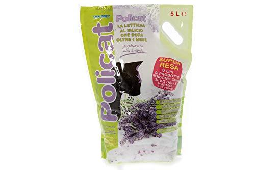 Policat Lettiera al Silicio Profumata alla Lavanda 15LT (3conf. da 5LT) - Biodegradabile, Odor Control