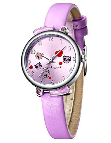 Kinder Uhren Mädchen Kinder Cartoon Wasserdicht Sport Armbanduhr Zeit Lehrer Niedlichen Stilvolle Analog Quarz Uhren für Kinder Mädchen Jungen Lila