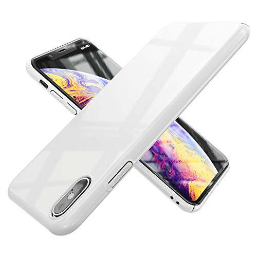 NALIA Custodia compatibile con Apple iPhone XS Max, Ultra-Slim Hard-Case Rigida Cellulare Protettiva Copertura Bumper Sottile Smart-Phone Protezione Thin Elegante Telefono Guscio Cover, Colore:Bianco