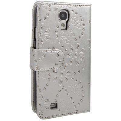 Etui de téléphone portable Coque Samsung i9500 Galaxy S4 Business Case Smartphone Case strass scintillants clignotant flip brillant de mode chic fleur argt motif floral