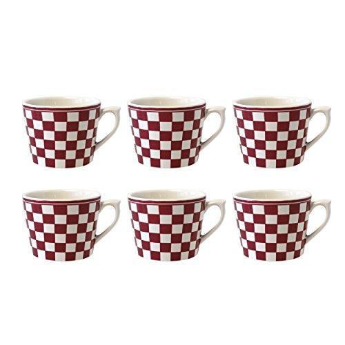 Depot d'argonne Damier Motif 6 Tasses à Cappuccino, en CÉRAMIQUE, Rouge, 11 x 9 x 7 cm