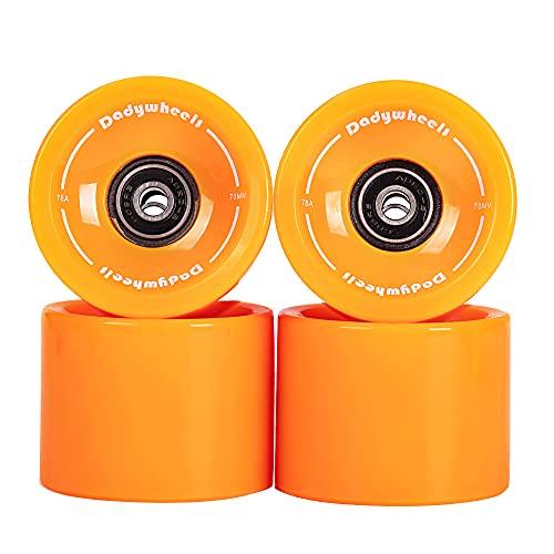 Dadywheels 70mm 78A Longboard Skateboard Wheels with ABEC-9 Bearings, spacers and a Skate Tool (Set of 4) Orange