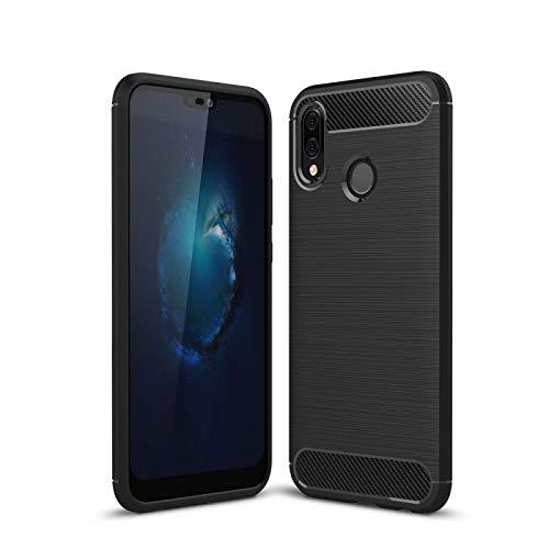 COPHONE® - Cover Nero Compatible Huawei P20 LITE in Fibra di Carbonio, Antiscivolo. Custodia P20 LITE Silicone Molle Black , Anti-Urto