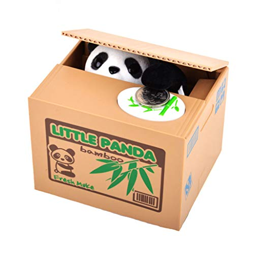 WZYJ Panda Sparschwein, Tier stehlen Sparschwein Geld sparen Box mit Stimme Kinder und Erwachsene (Katze und Panda),D