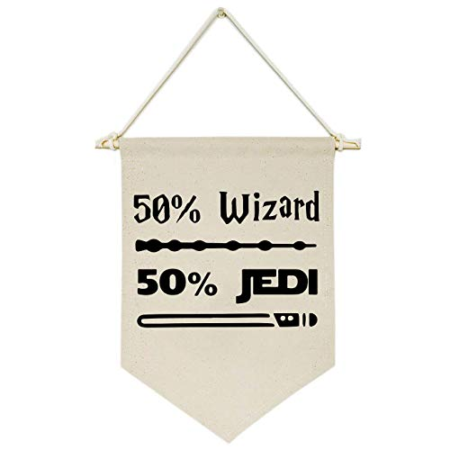 Topthink 50% Wizard 50% Jedi-Canvas Hanging Flag Banner Wall Sign Decor Gift for Baby Kids Boy Nursery Teen Room Front Door -Star Harry Quotes Wars Potter Gift