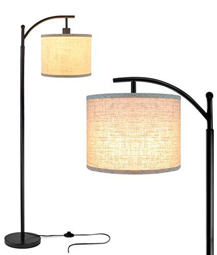 DLLT Retro Stehleuchte aus Metall mit E27 Glühbirne & Fußschalter, 3000k Warmweiß Vintage Leinen Lampenschirm, Augenschutz Leselampe für Wohnzimmer, Studio, Schlafzimmer, Arbeitszimmer