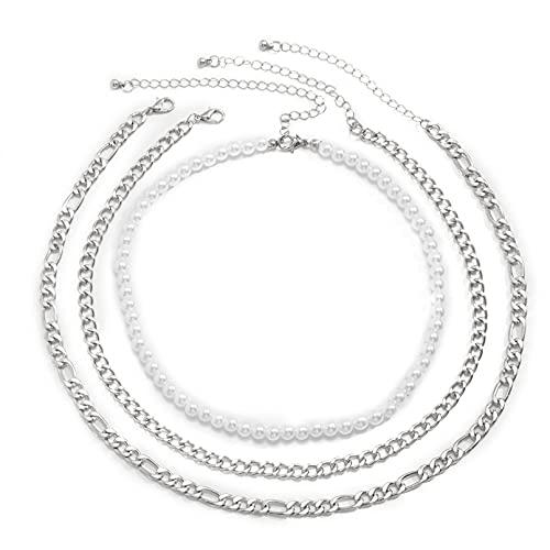 N/A Halskette Damen European and American Simple and Generous Chain Necklace Female Simple Iron Grinding Chain Cross Face Multi-Layer Necklace Geschenk Für Frauen Valentinstag Halskette