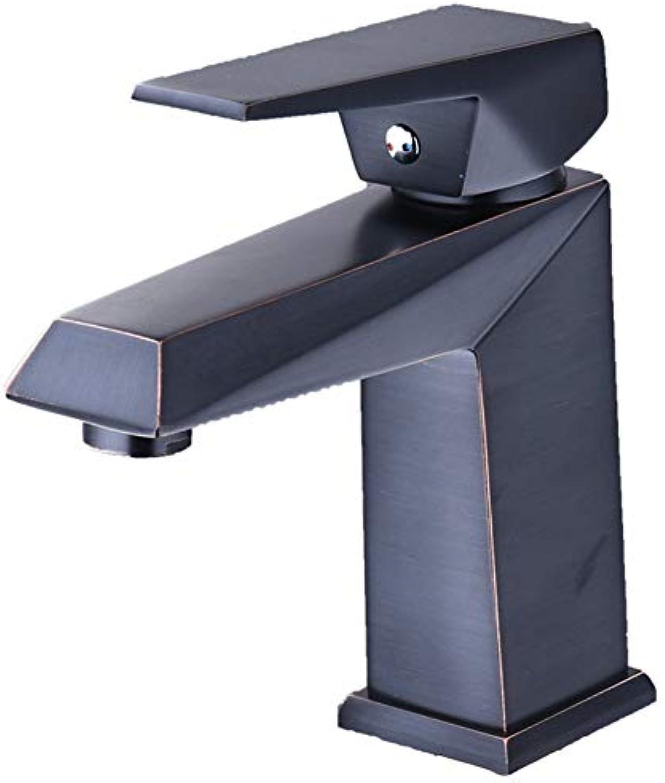 GYYlucky European schwarz On The Wash Handwaschbecken Amerikanischer Wasserhahn Kupfer Badezimmer Badezimmer Hei und kalt Einhand Einlochmontage