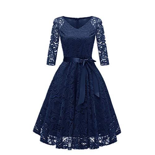 N\P Vestidos de mujer de moda simple sexy retro princesa vestido floral encaje lazo cóctel cuello en V vestido inclinado fiesta