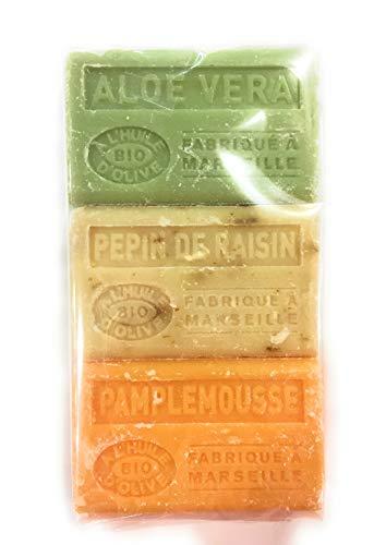 Label Provence Savon de Marseille Bio-Seife mit Olivenöl, Aloe Vera/Traubenkern/Grapefruit, 3 Stück