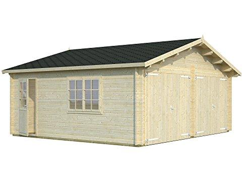 *Palmako Blockbohlen-Doppel-Garage Roger 28,4 44 mm natur mit Holztoren*
