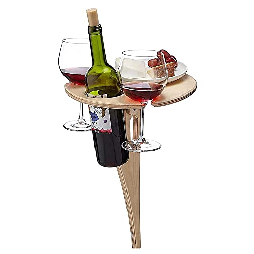 Outdoor Wine Table, Folding Drinks Garden Patio Table,Outdoor Picnic Wine Glass Holder,Snack and Cheese Holder Tray for Concerts at Park, Beach