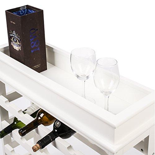 HOMFA Weinregal Flaschenregal für 24 Flaschen aus weißem Holz - 4