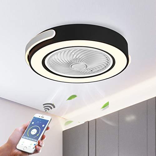 HZJ LED Dimmen Deckenventilator mit Licht, Einstellbar Windgeschwindigkeit, APP + WiFi-Steuerung, Dimmbar Deckenleuchten mit Fernbedienung für Schlafzimmer Deckenleuchtenlüfter,Schwarz,H58cm