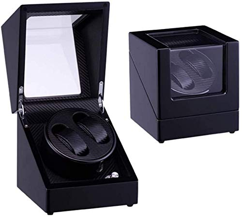 N/Z Living Equipment Automatic Watch Winder 2 Uhren mit leisem Motor und Holzschale Piano Paint Auto Winding Case Uhr Shaker Box Tolles Geschenk für Liebhaber Freund Boss_Black Watch Winder