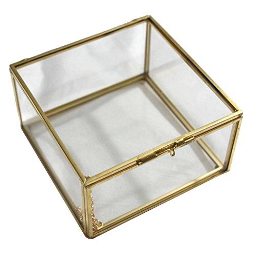 Homyl 1 Pieza Caja de Terrario Maquillaje para Accesorios de Joyas de Mujeres Chicas de Material Vidrio y Cobre - 13 x 13 x 8cm