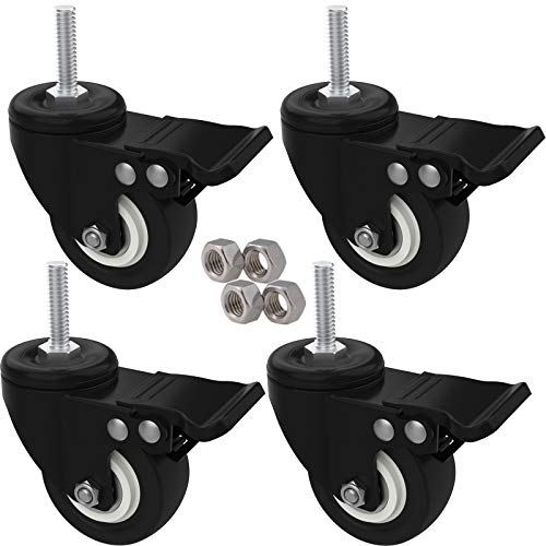 MySit 2 Stem Casters with Brake, 3/8-16x1 Heavy Duty Threaded Stem Caster Wheels Rubber No Noise Swivel Castors Bolt with Nuts for Carts Furniture Dolly Workbench Trolley(4 Pack)
