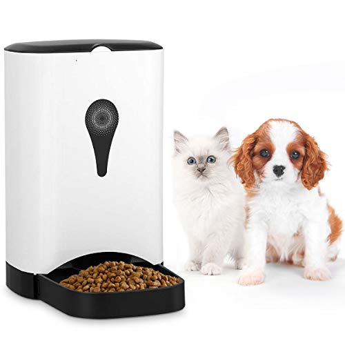 Giantex Automatic Cat Feeder 4.5L Pet Food Dispenser for Cats, Dogs & Small Animals, Distribution Alarms, Portion Control, Voice Recording, Programmable Timer, Up to 4 Meals A Day