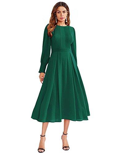 DIDK Damen Plissee Kleider Rundhals A Linie Faltenkleid Elegant Langarm Midi Kleid mit Reißverschluss Grün M