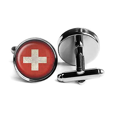 Switzerland Swiss Flag Schweiz Schweizer Flagge Rhodium Silber Manschettenknöpfe