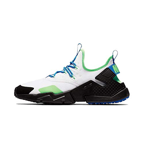 Nike Men's Air Huarache Drift Running Shoes-White/Black/Blue Nebula-11.5