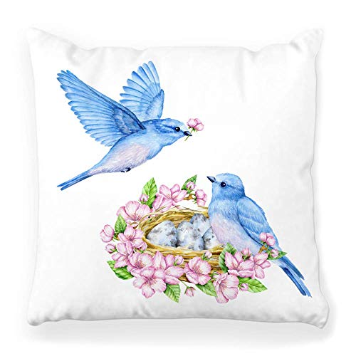 Square Pillow Cover 20x20 Blue Bird Nest and Spring Luck Chick Floral Realistic Avian Basket Beak Bloom Bluebird Border Branch