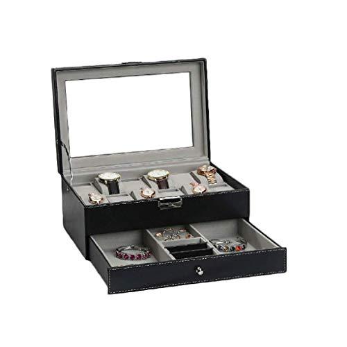XZJJZ Joyería de Box-Caja de Reloj Organizador con Servicio de cajón, bisagra de Metal, Grande Holder, Negro Cuero de la PU - Caja de Almacenamiento Caja de Reloj de la joyería for los Hombres