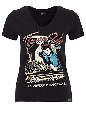 Queen Kerosin Damen Kurzarm T-Shirt V Ausschnitt Tune Up Print Slim Fit Tune Up