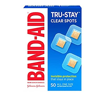 Band-Aid Brand Tru-Stay Clear Spots Discreet First Aid and Wound Care for Minor Cuts and Scrapes, All One Size, 50 Count