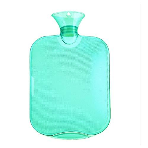 QINGXI Botellas de Agua Caliente con Fundas Tejidas, Premium Rubber para calambres y Alivio del Dolor con 1 Cubiertas de Punto Rápido, Tapa de la Botella de Punto, 2 Lgreen