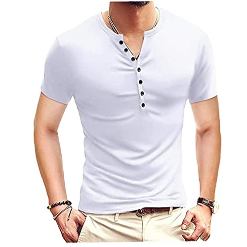 Berrywho Heren T-shirt Katoen Gemengd Met V-hals Korte Mouw Button Slim Casual Tee White M