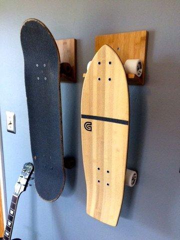 Bamboo Skateboard Wall Rack | Mount for Storing Your Skateboard or Longboard Skate by COR Surf