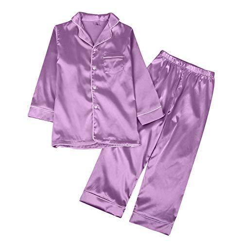 Minuya Pijamas de seda para niños y niñas, de manga corta, para dormir, primavera, verano, 2 piezas