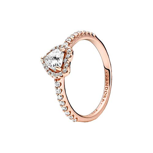 Pandora - Anillo de corazón de aleación de metal chapado en oro rosa de 14 quilates 54