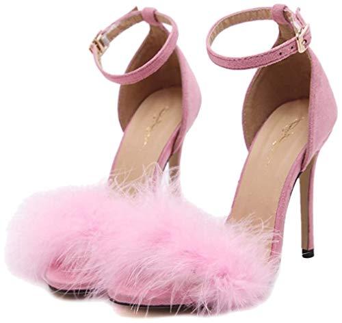 MagicXle Scarpe col Tacco Alto da Donna Sandali Estivi Button Scarpe Romane Sexy con Tacco a Spillo Feather Pink 36