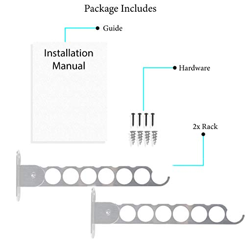 Wall Mount Garment Rack Holder Up To 12 Hanger Coat Hooks - Great for Baby, Kids, Men & Women Clothing - Perfect for Laundry, Cleaning and Organizing Your Wardrobe Chrome Set of 2
